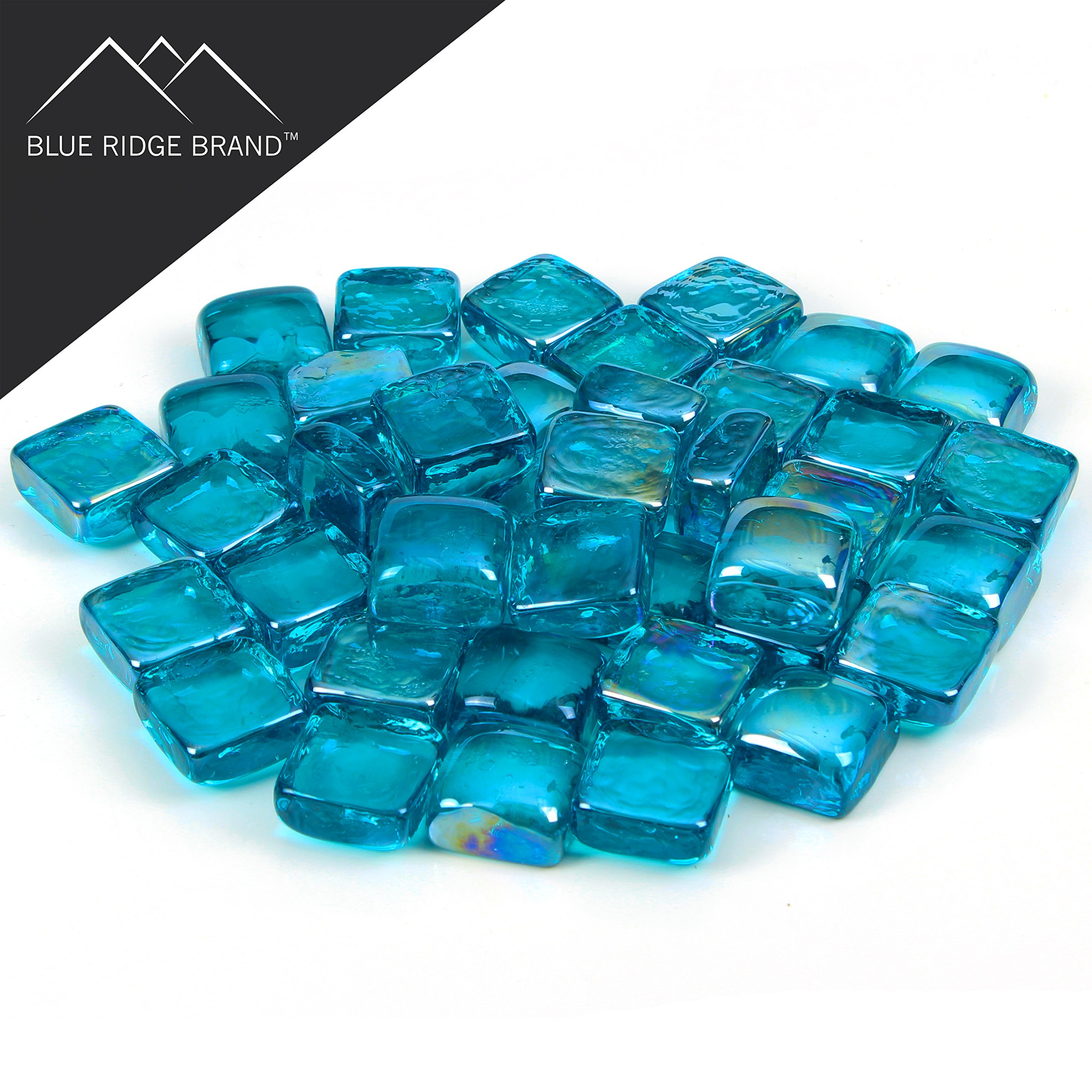 Blue Ridge Brand trade; Aqua Reflective Fire Glass Cubes - 20-Pound Professional Grade Fire Pit Glass - 3/4'' Reflective Glass for Fire Pit and Landscaping by Blue Ridge Brand (Image #2)
