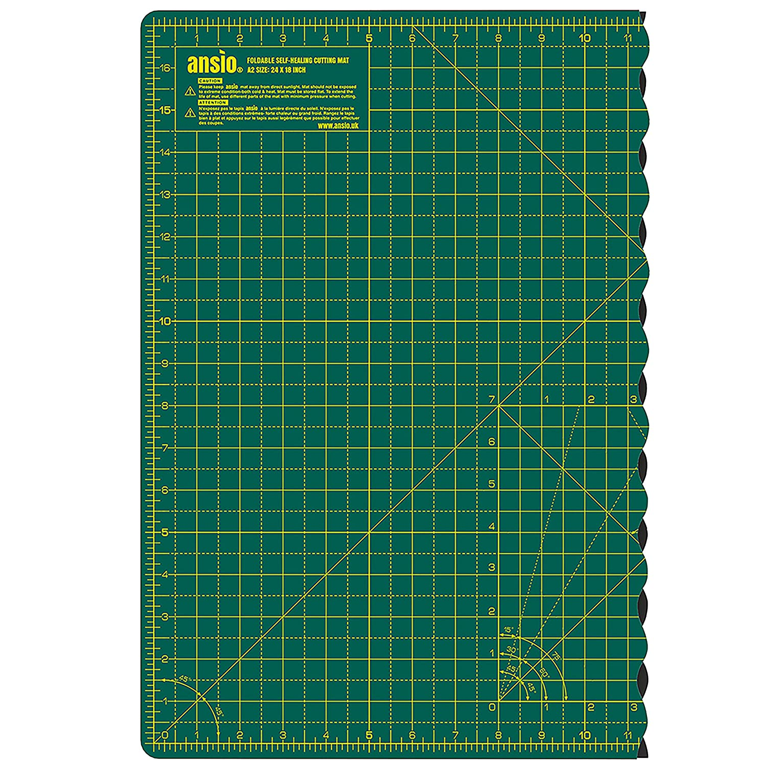 ANSIO A1 Self Healing Foldable Cutting Mat with Imperial 34 Inch x 22.5 Inch - Green