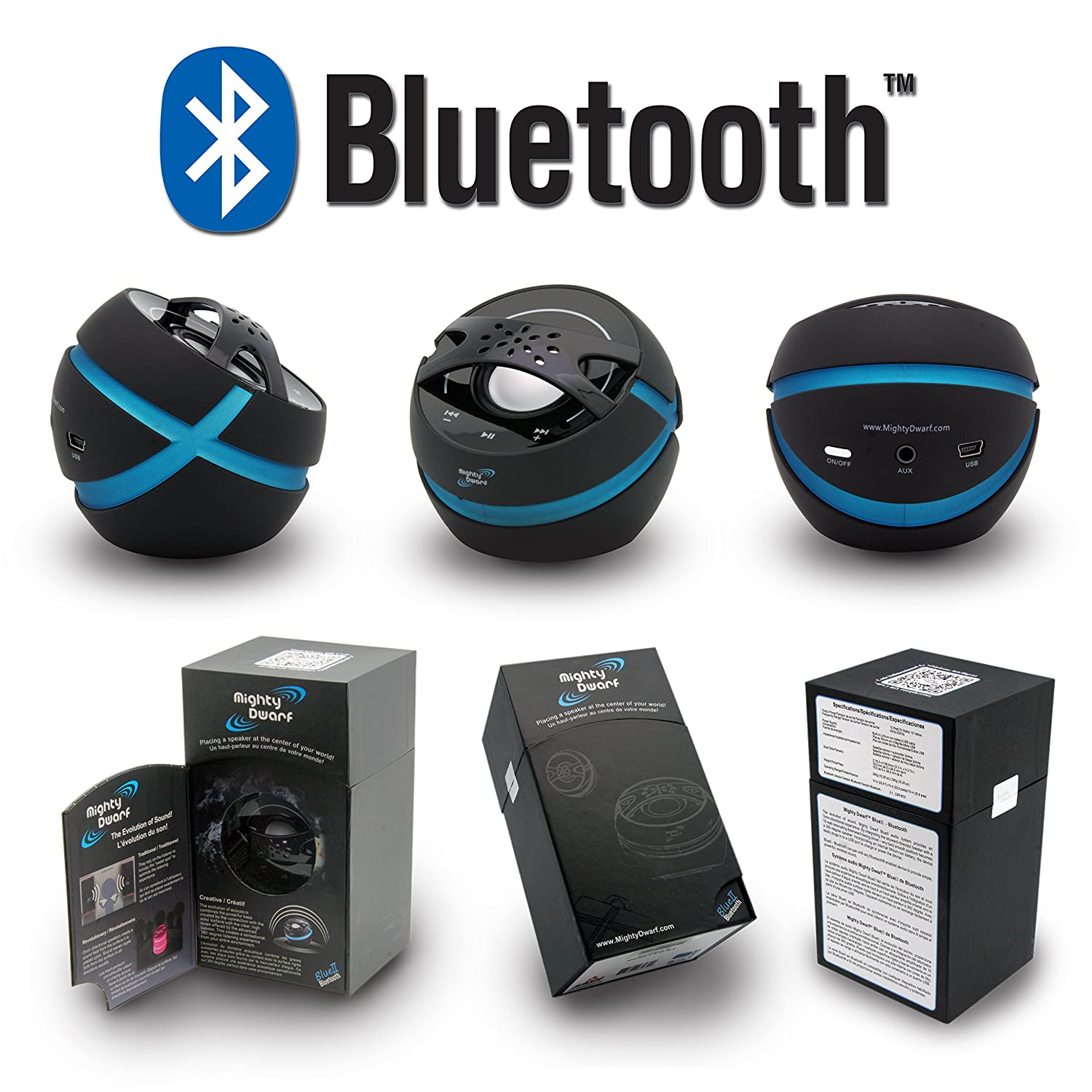 Mighty Dwarf Portable Wireless Bluetooth Vibration Speaker Turns Any Surface Into A Loud Speaker LAVA Imports MDBLUEII-BT