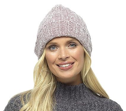 478cc2da039 Foxbury Ladies Soft Chenille Knitted Hat Beige  Amazon.co.uk  Clothing