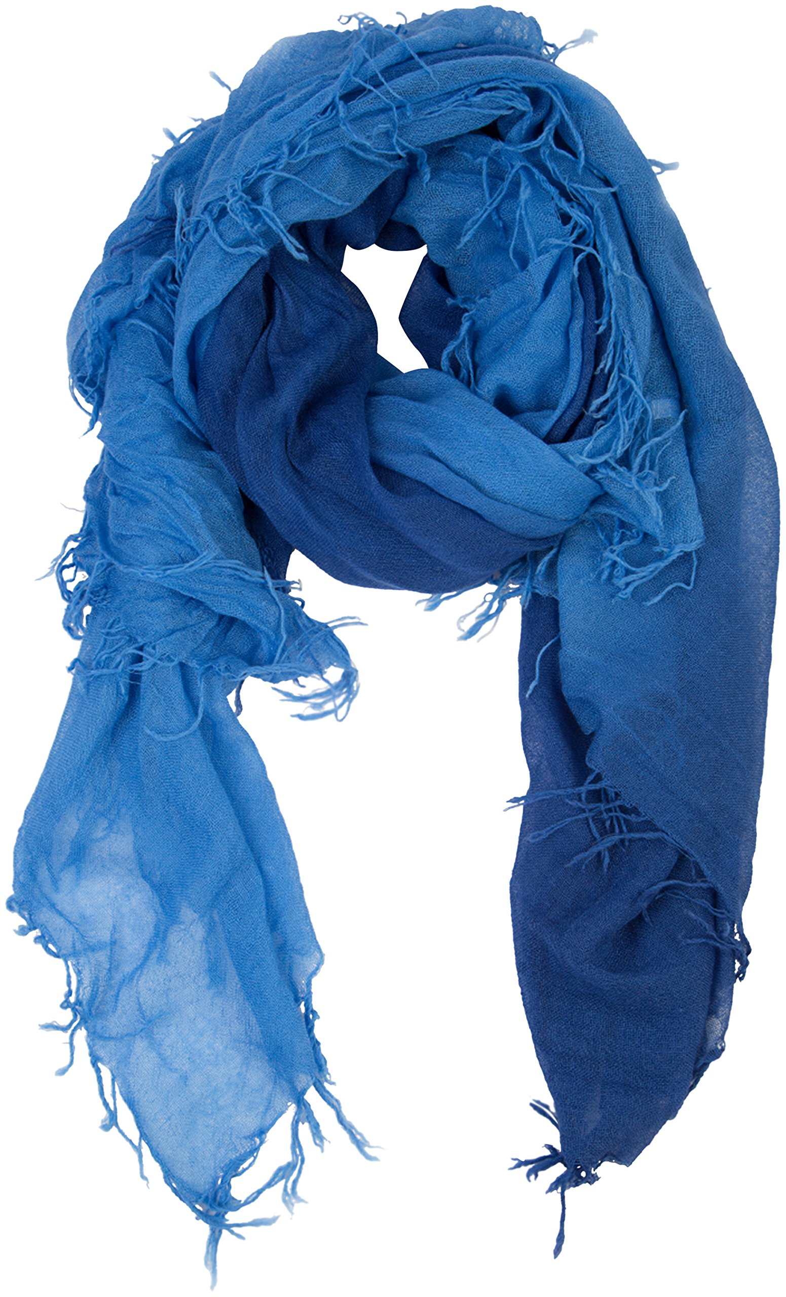 Chan Luu Dip Dyed Palace Blue and Mazarine Blue Cashmere And Silk Scarf