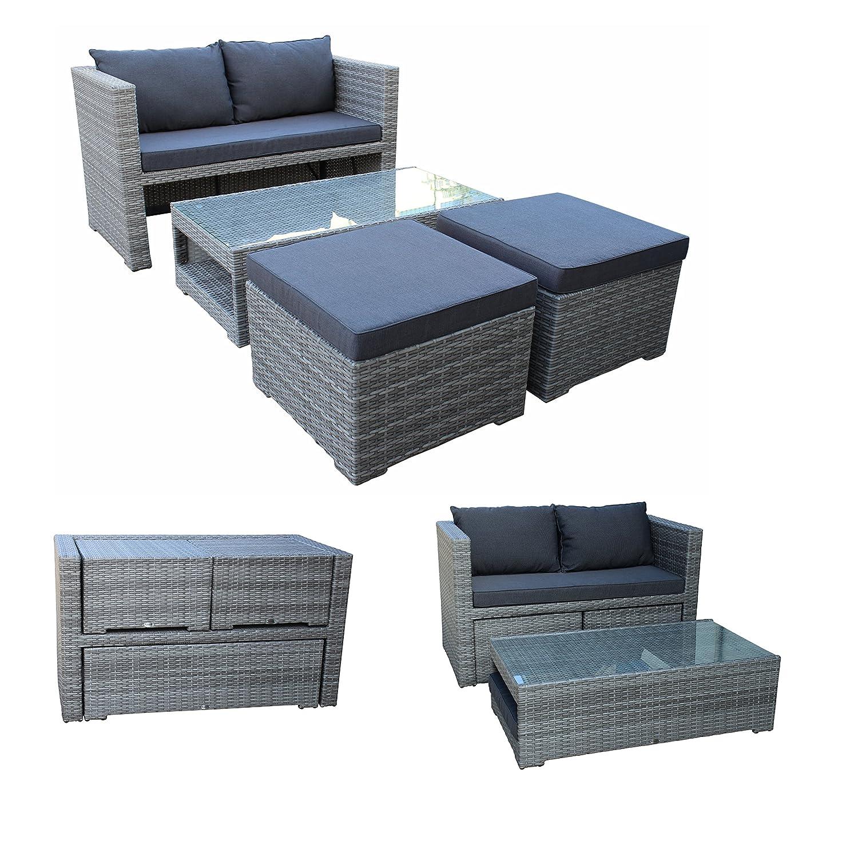 funktions loungeset fiorino 1x sofa 2x hocker 1x glastisch alu geflecht grau mit polstern. Black Bedroom Furniture Sets. Home Design Ideas