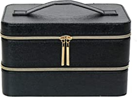 Lancome Two Layers Cosmetic Synthetic Leather Train Case Box Organizer, Black in Semi Gloss Finish