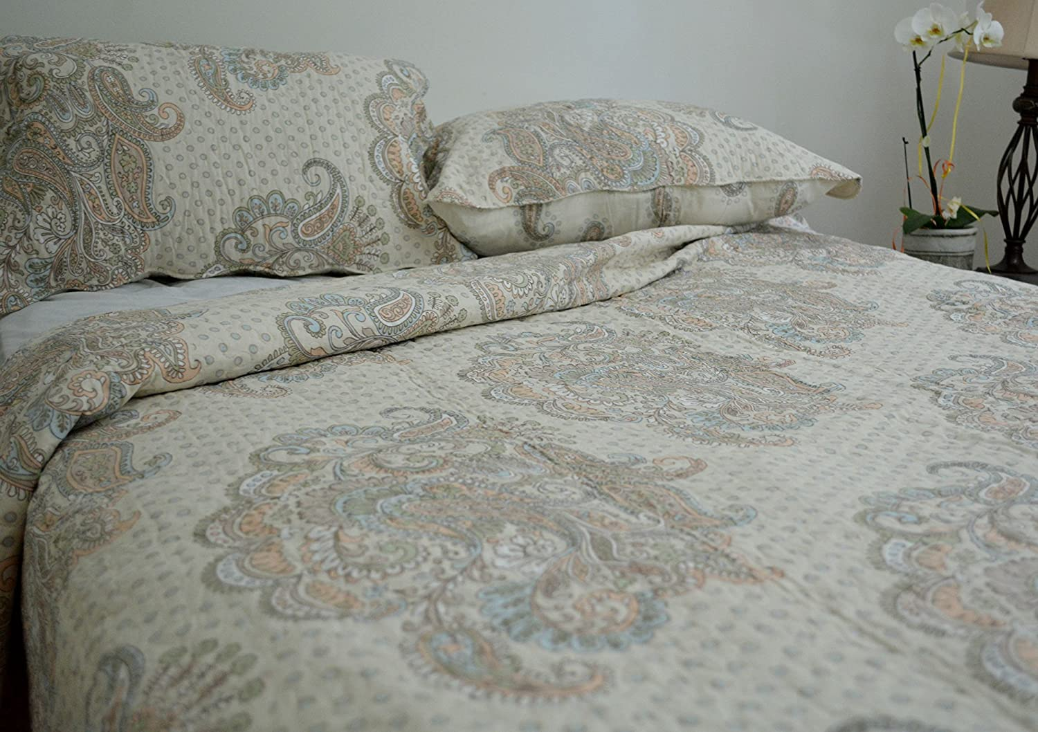 Cotton French Golden Garden Reversible Bedspread Quilt Set