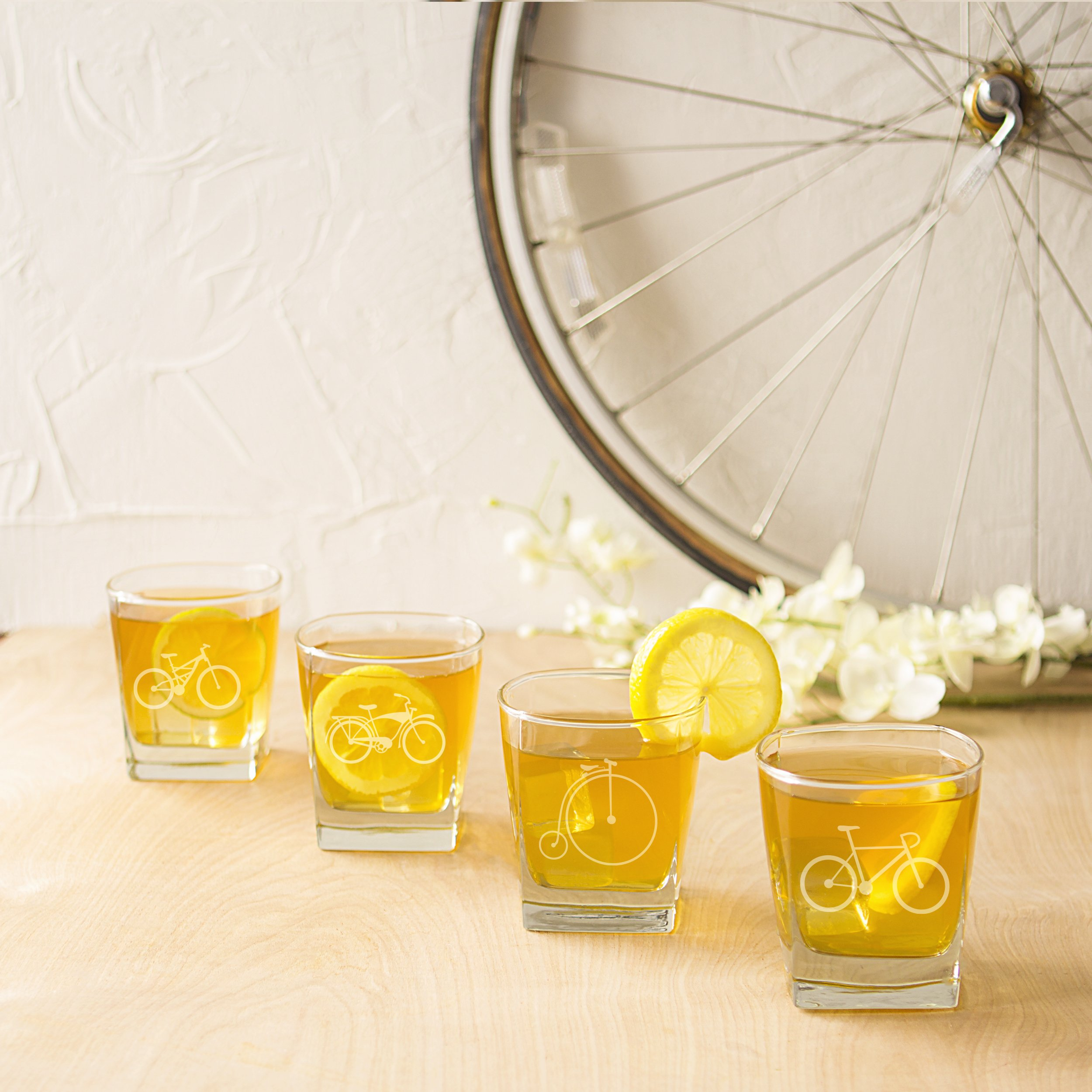 Cathy's Concepts Bicycle Rocks Glasses (Set of 4) by Cathy's Concepts (Image #3)