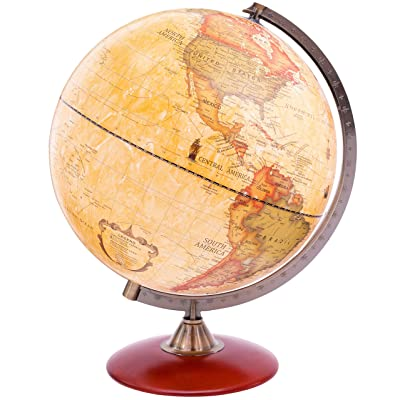 Exerz Antique Globe Dia 12-inch / 30 cm with A Wood Base, Vintage Decorative Political Desktop World - Rotating Full Earth Geography Educational - for Kids, Adults, School, Home, Office (Dia 12-inch): Office Products