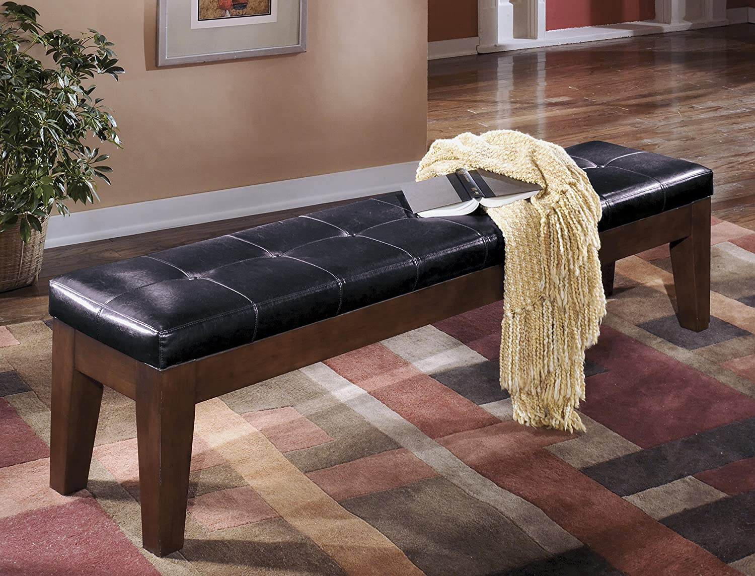 Lairecmont Casual Burnished Dark Brown Color Extra Large Upholstered Bench