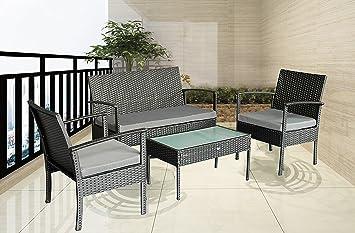 Patio Outdoor Balcony Furniture 4Pcs Small Sofa Set (Gray)