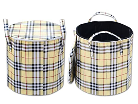 Home Decor Kart Fabric Foldable Round Laundry Basket For Clothes