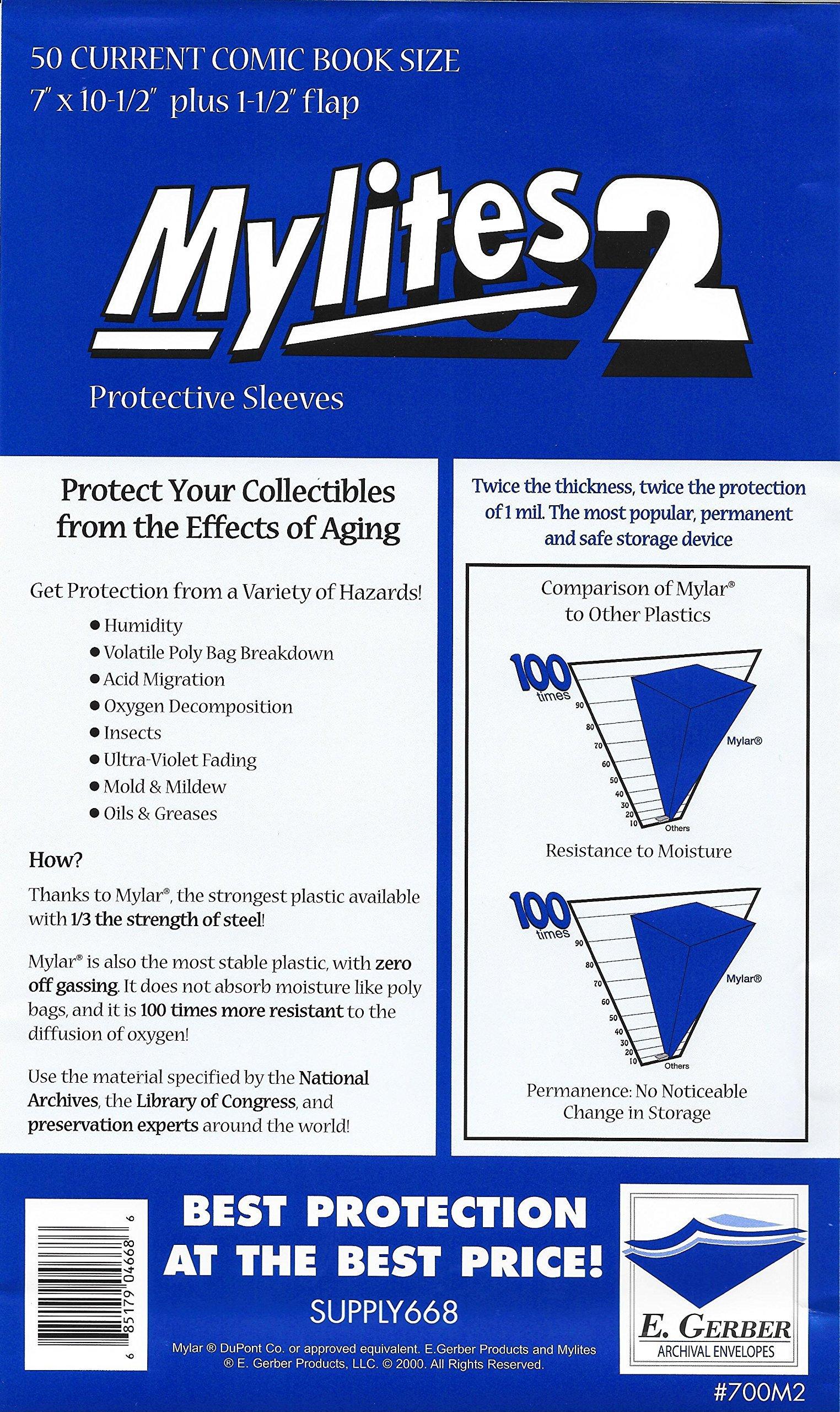 Mylites2 50 Pack - 2 Mil Current 7'' X 10-1/2'' Plus 1-1/2'' Flap