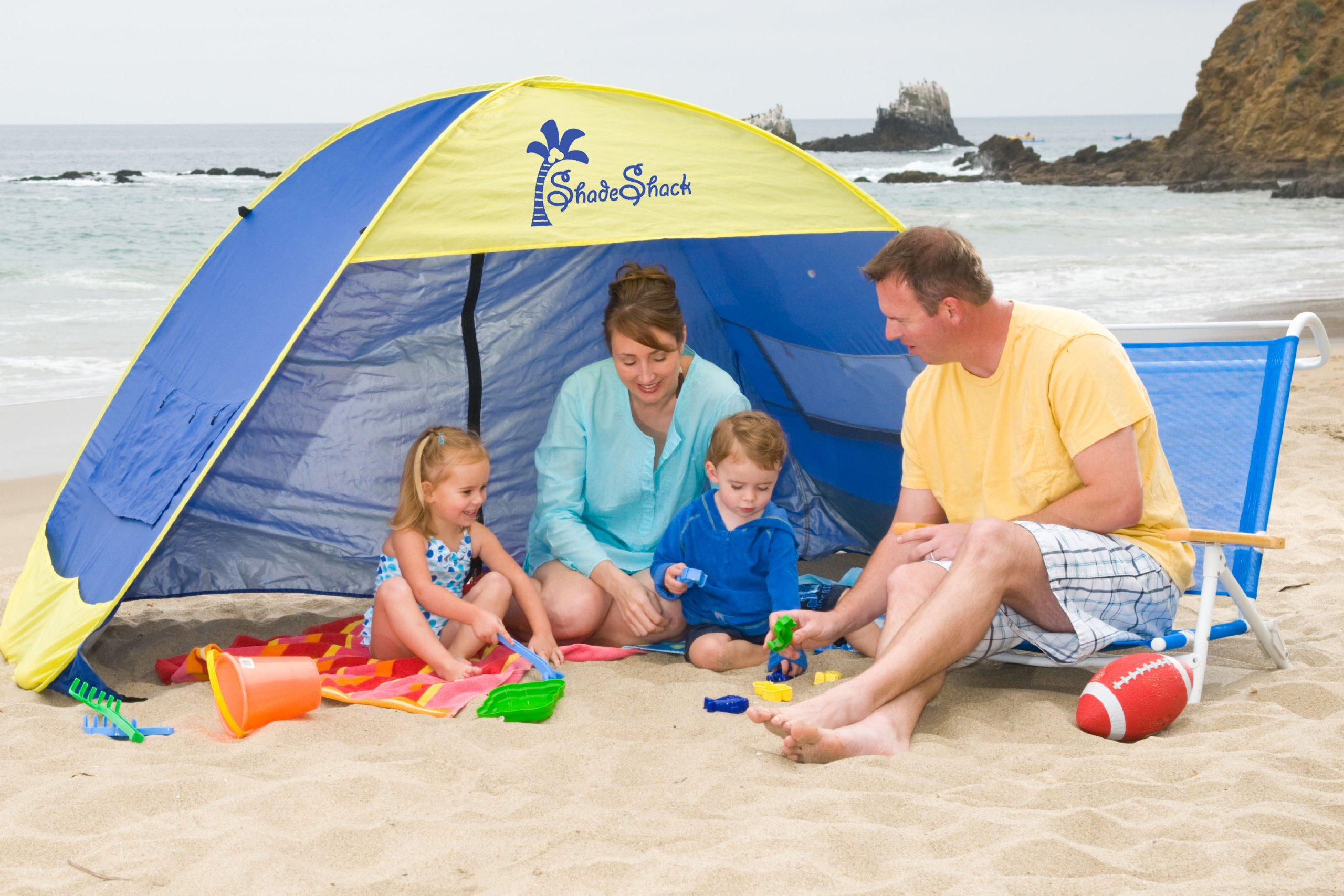 Shade Shack Beach Tent Easy Automatic Instant Pop Up Camping Sun Shelter - Blue/Yellow - Large by Shade Shack