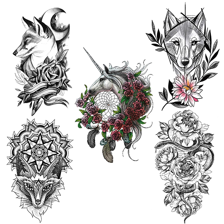 5 temporary male and female animals and flowers (Fox, snake, wolf, Unicorn) body art dark waterproof tattoo stickers.