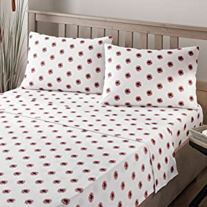 Brielle Fashion Cotton Jersey Sheet Set, Queen, Pom Pom