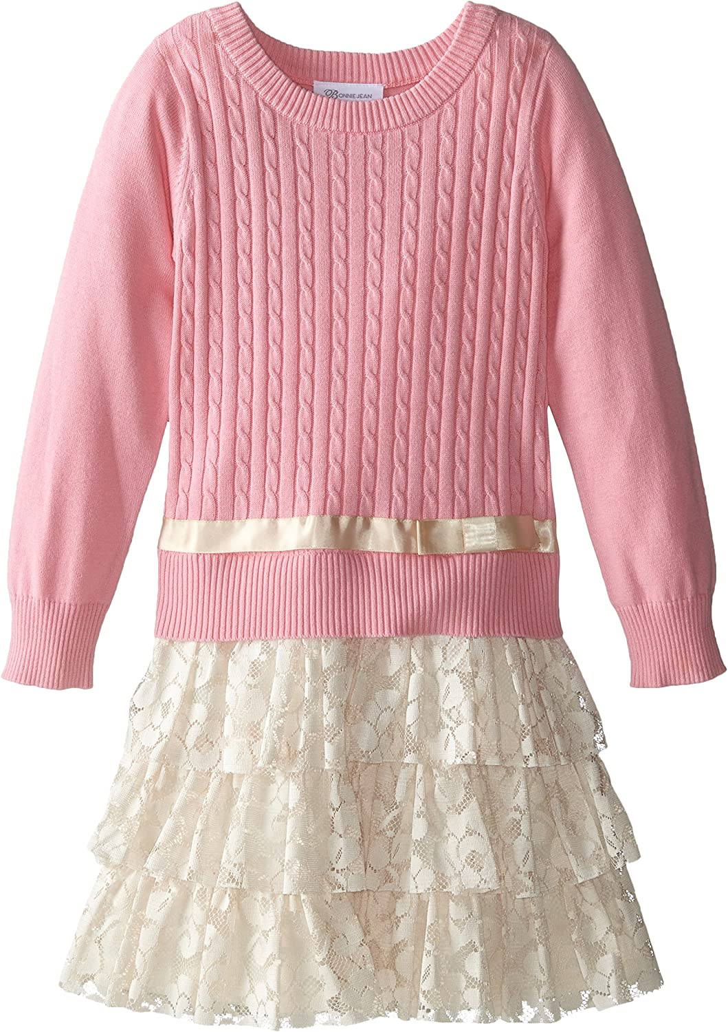 Bonnie Jean Girls' Cable Knit Sweater and Lace Skirt Dress