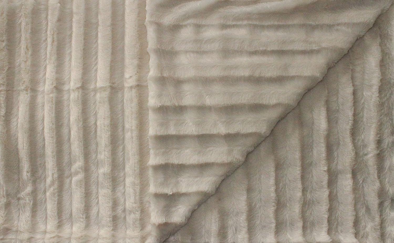 Plaid Coperta per Il Soggiorno Kaufmann Adatta Come copriletto con 2 Strati Spessi Beige di qualit/à Coperta in Pelliccia di Visone Sintetica Intrecciata