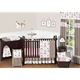 Modern Pink and Brown Mod Elephant Baby Girl Bedding 11pc Crib Set without bumper