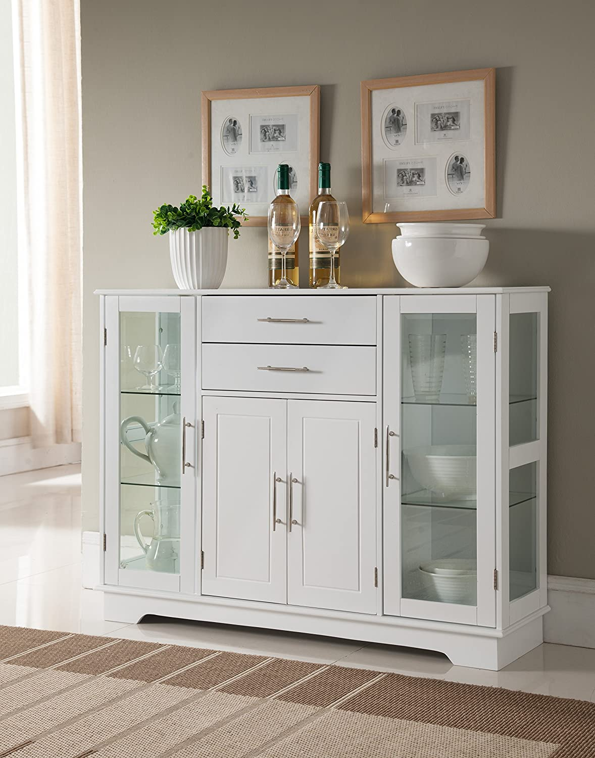 White Wood Kitchen Buffet Display Cabinet With Storage Drawers Glass Doors Amazon In Home Kitchen