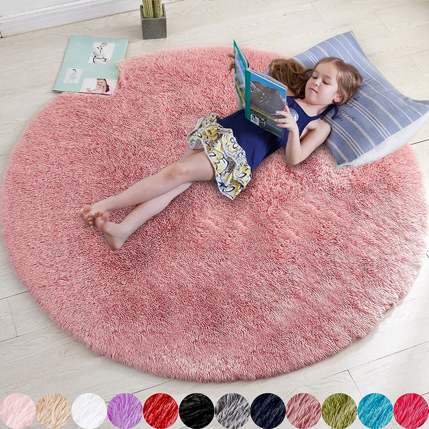 Blush Round Rug for Bedroom,Fluffy Circle Rug 5'X5' for Kids Room,Furry Carpet for Teen Girls Room,Shaggy Circular Rug for Nursery Room,Fuzzy Plush Rug for Dorm,Blush Carpet,Cute Room Decor for Baby