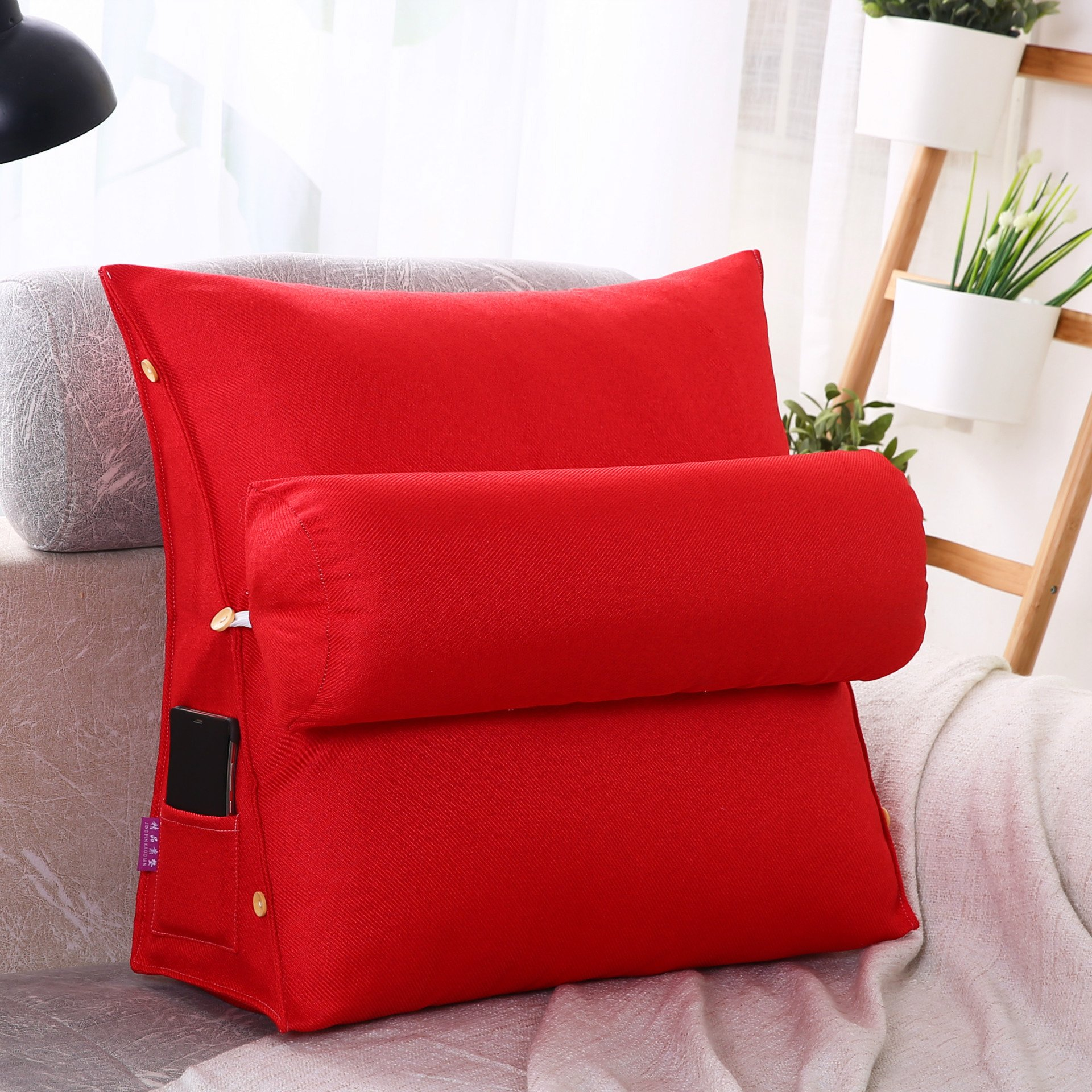 LUOTIANLANG Office sofa cushion pillow waist pillow for pregnant women Home Furnishing ornaments triangle comfortable cushion,Red,50x180x20cm