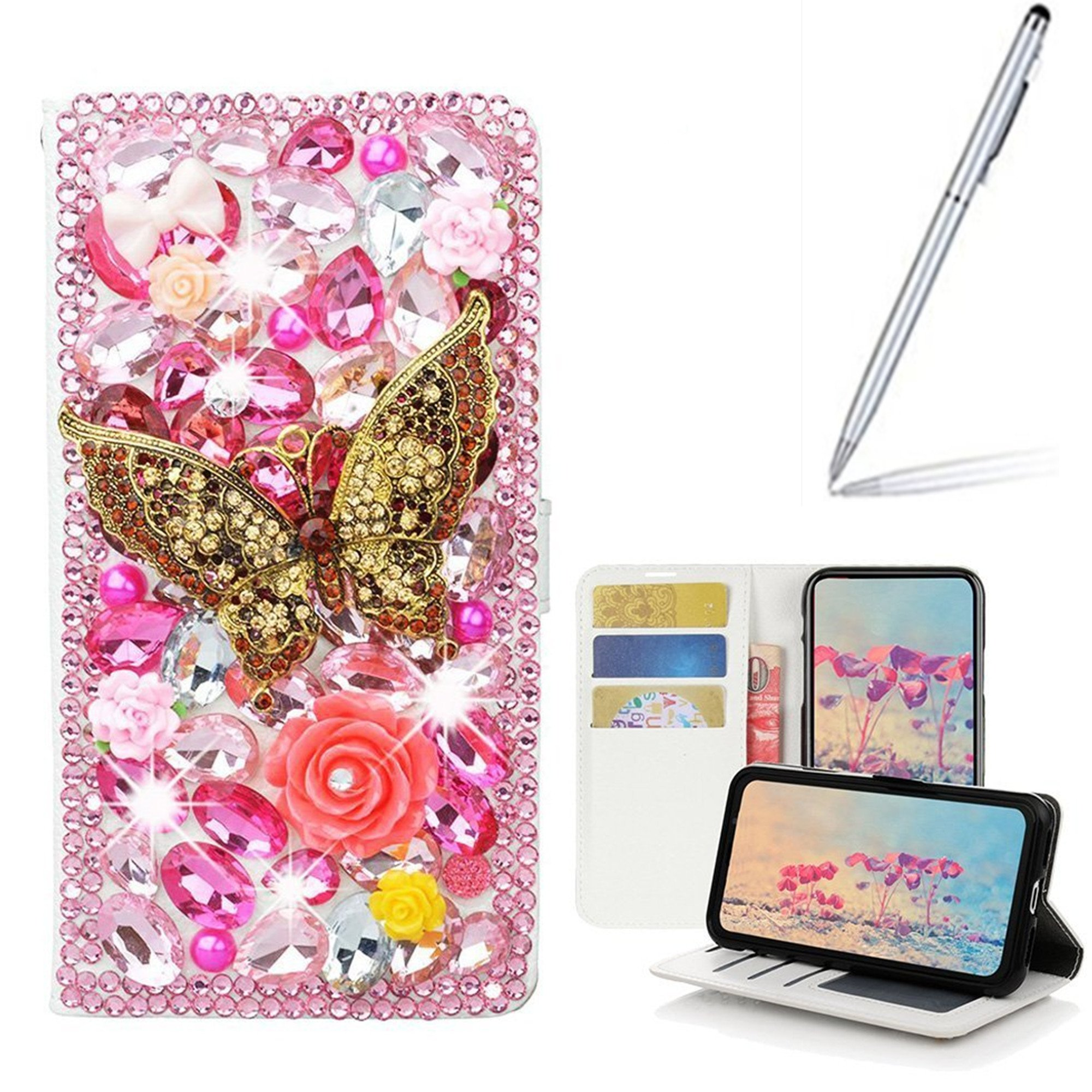Yaheeda LG Stylo 3 Case with 2 in 1 Stylus and Ballpoint Pen, [Stand Feature] Butterfly Crystal Wallet Case Premium [Bling Luxury] PU Leather Flip Cover [Card Slots] For LG Stylo 3 Plus