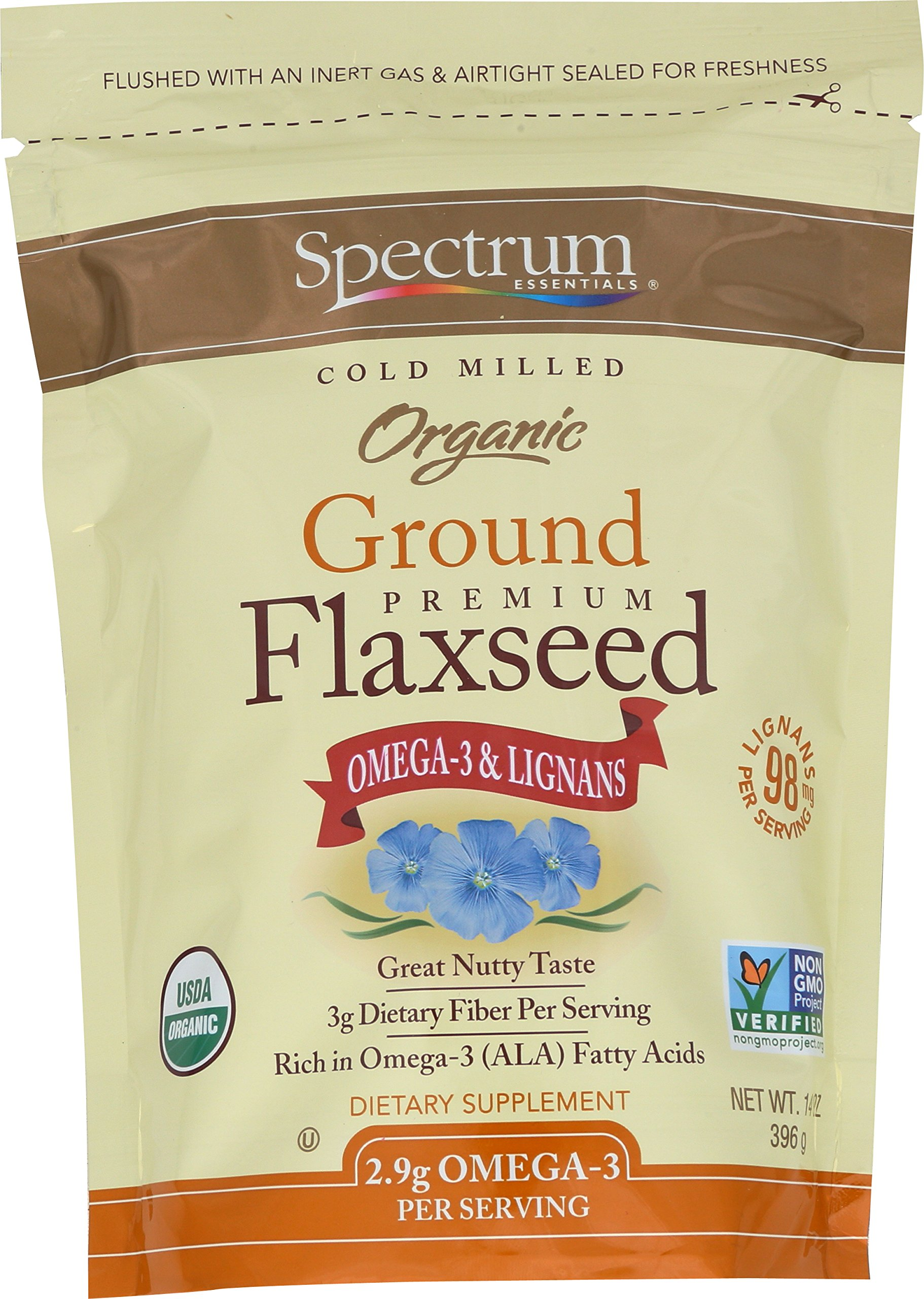 Spectrum Essentials Organic Ground Flax Seed, 14 Ounce (Pack of 12)
