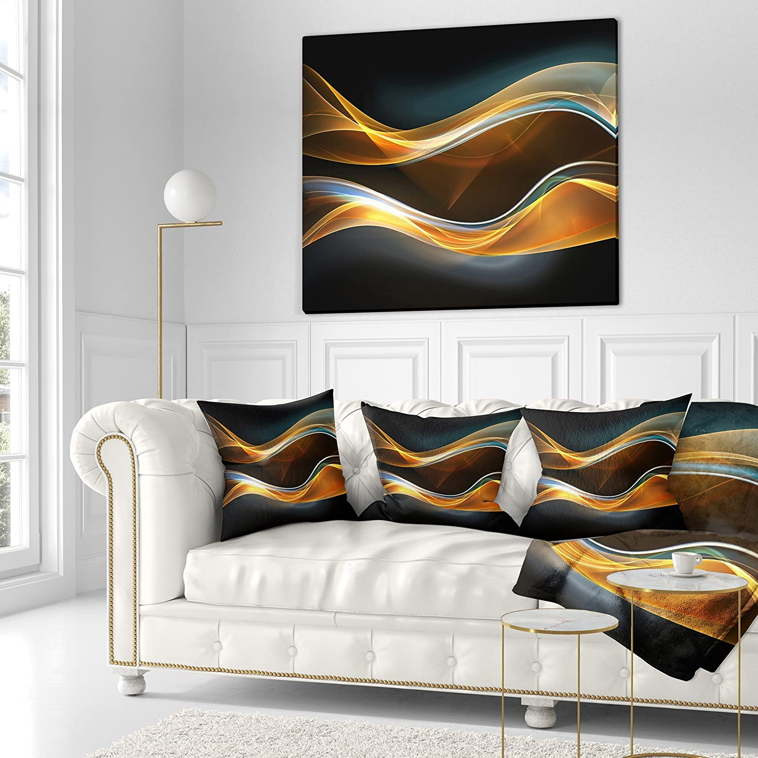 in Designart CU8220-26-26 3D Gold Waves in Black Abstract Cushion Cover for Living Room Sofa Throw Pillow 26 in Insert Printed On Both Side x 26 in