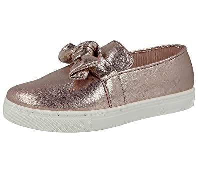 52a2c816f710 Girls Kids Metallic Pink Canvas Fashion Slip On Glitter Bow Rabbit Bunny  Pom Pom Sneakers Pumps
