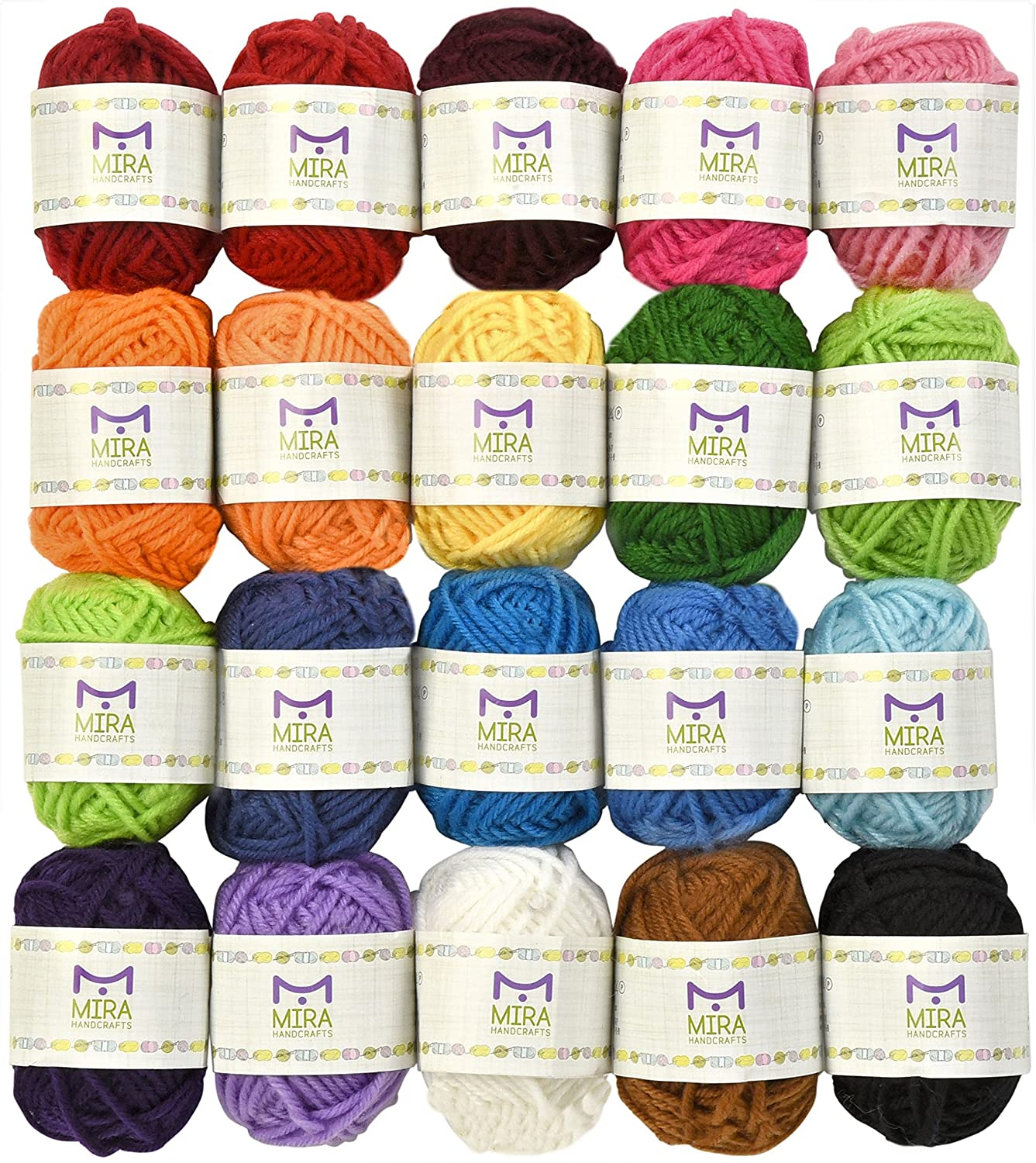 Mira Handcrafts 20 Acrylic Yarn Bonbons - 438 Yards Multicolor Yarn in Total – Great Crochet and Knitting Starter Kit for Colorful Craft – Assorted Colors - 7 PDF Ebooks with Yarn Patterns Miragoods 4336926373
