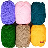 Vardhman Bunny Mix 6 no. (6 pc Pack) Wool Ball Hand Knitting Wool/Art Craft Soft Fingering Crochet Hook Yarn, Needle Acrylic Knitting Yarn Thread Dyed