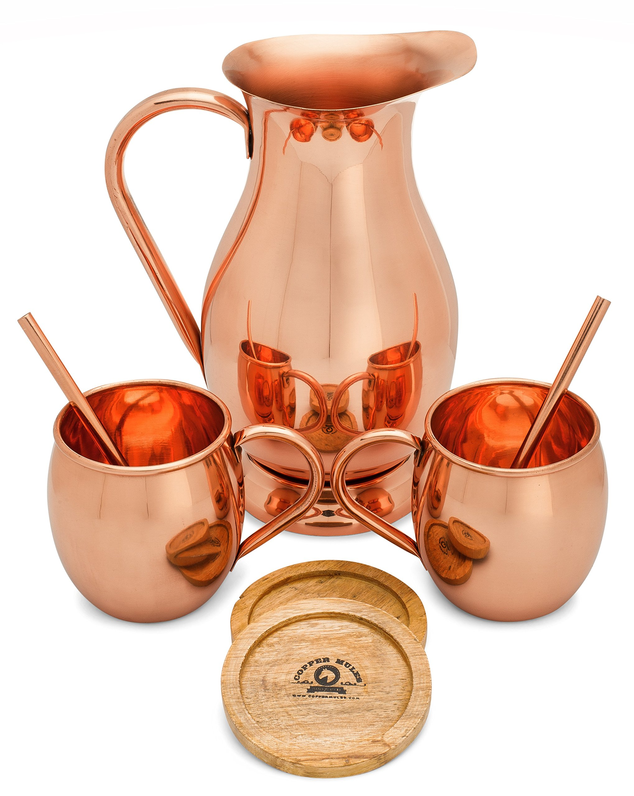 Elegant Copper Pitcher (70oz) and Copper Mugs Set - Handcrafted by Highly Experienced Artisans