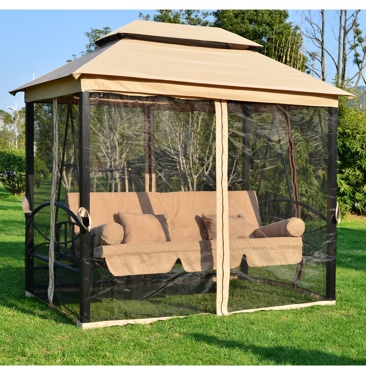 Outsunny Outdoor 3 Person Patio Daybed Canopy Gazebo Swing Chair