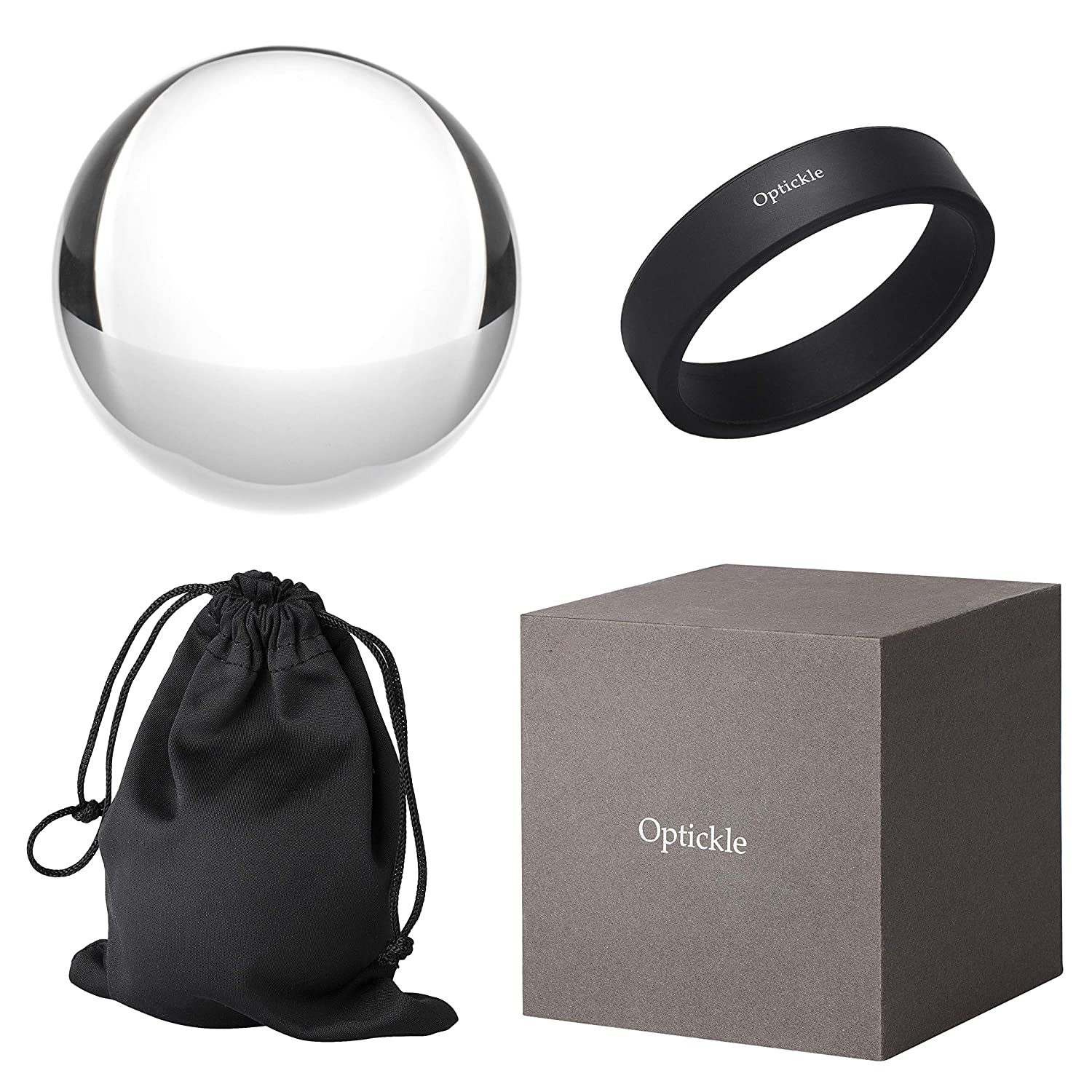 Optickle - Photography Crystal Ball (78mm / 3inch) Optical Glass - K9 Crystal - Great Gift Idea for Creatives - Capture Brilliant 180-Degree Photos - No-Scratch Silicone Stand Ainoina