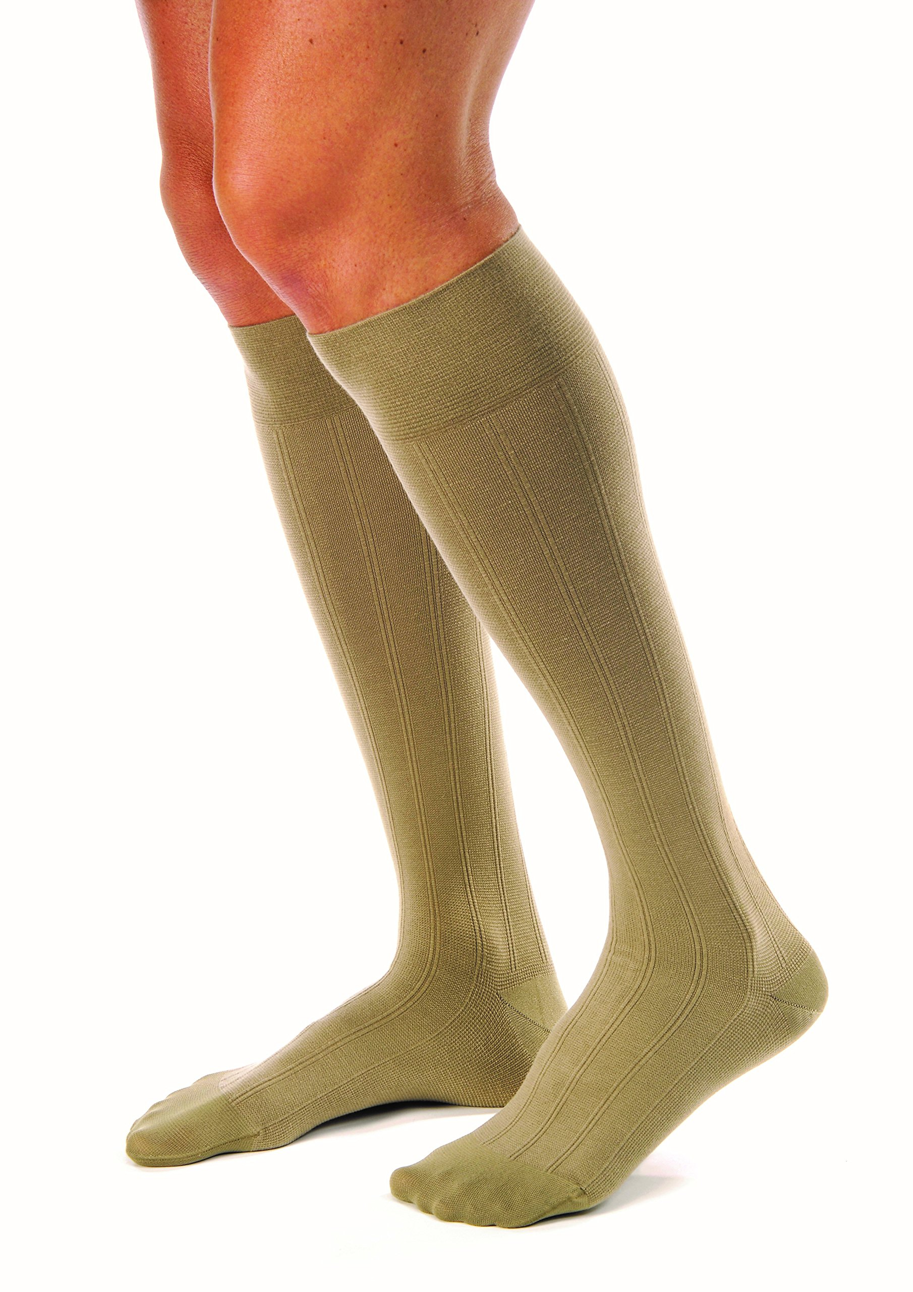 JOBST for Men Casual Knee High 30-40 mmHg Compression Socks, Closed Toe, X-Large, Khaki