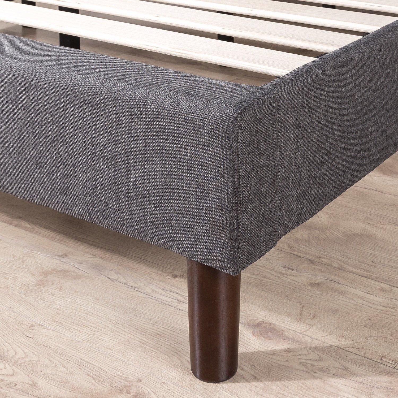Full Zinus FGPP-F Upholstered Geometric Paneled Platform Bed with Wood Slat Support