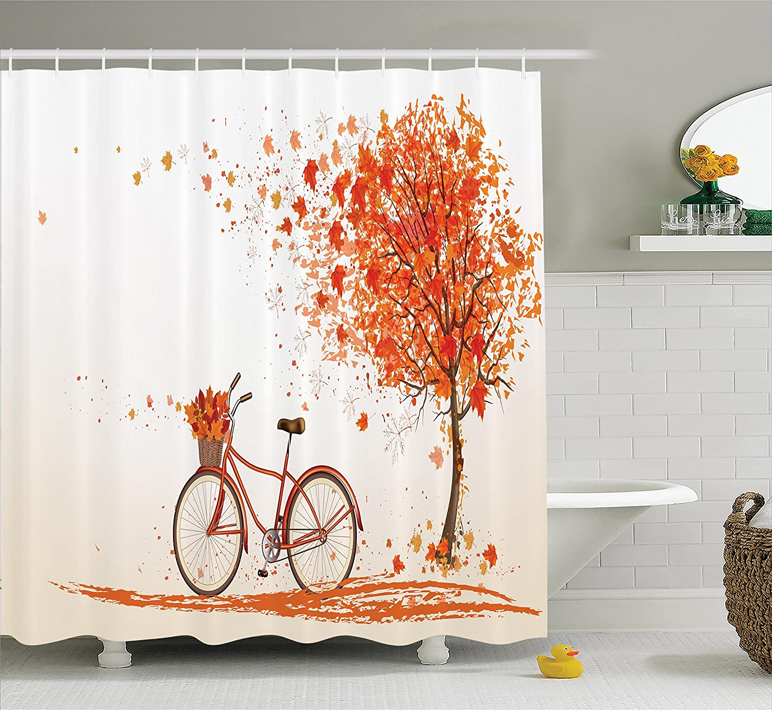 Ambesonne Bicycle Shower Curtain Autumn Tree With Aged Old Bike And Fall November Day Season Park Nature Home Decor Polyester Fabric Bathroom