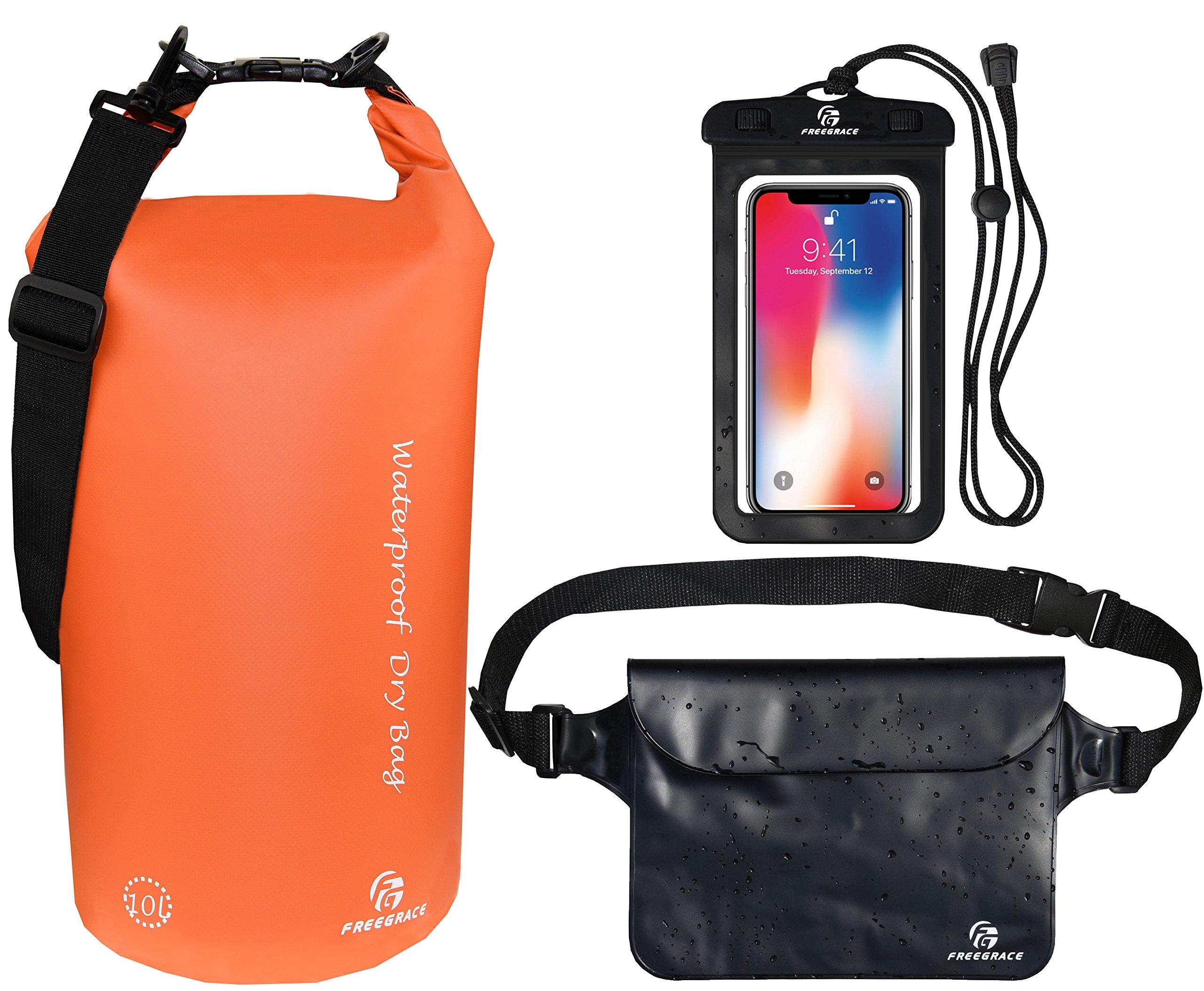 03a9cc5a99 Freegrace Waterproof Dry Bags Set of 3 - Dry Bag 2 Zip Lock Seals &  Detachable