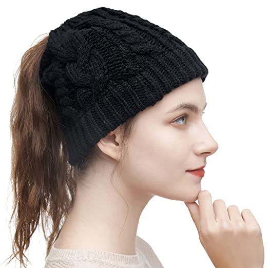 ced635e6 ELLEWIN Women Ponytail Mess Bun Beanie Tail Hat Winter Solid Ribbed Hat
