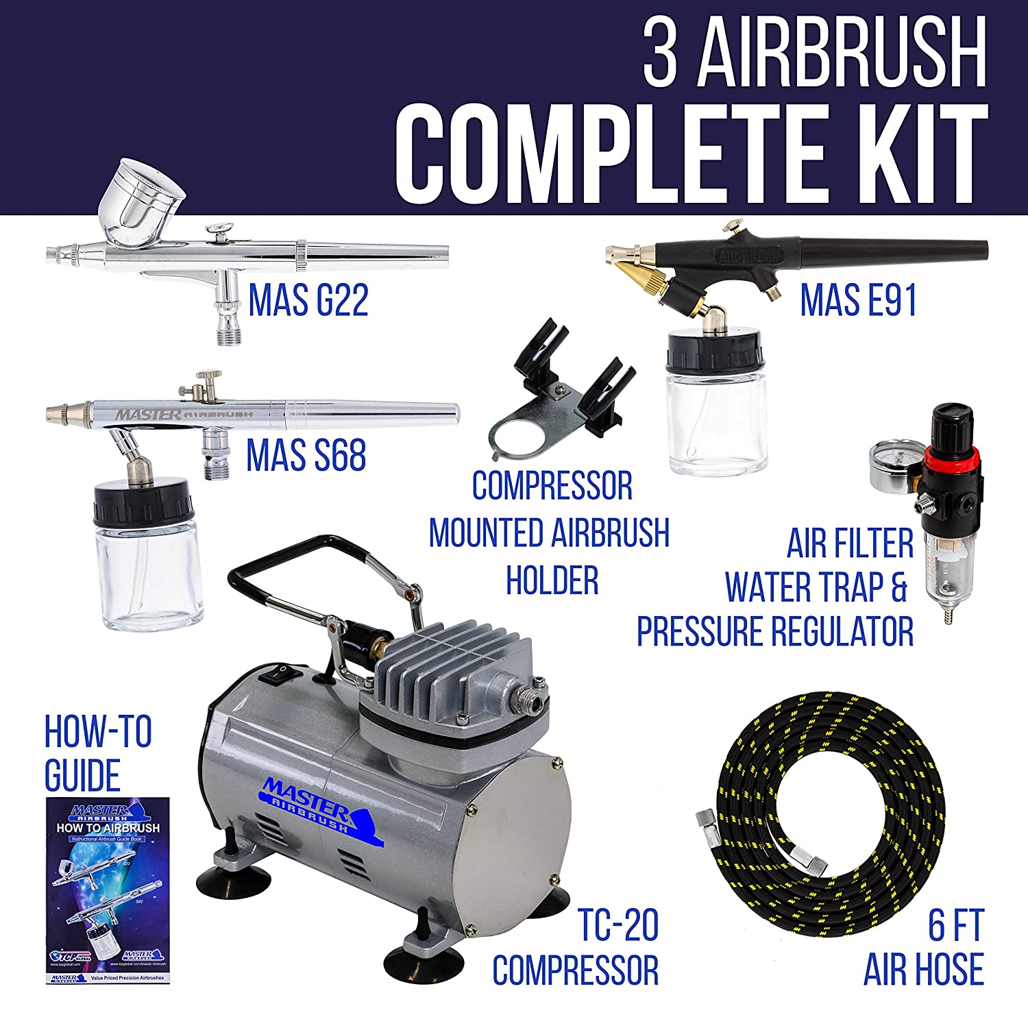Master Airbrush 3 Airbrush Professional Multi-Purpose Airbrushing System  Kit - G22, S68, E91 Gravity & Siphon Feed Airbrushes, Hose, Air Compressor,