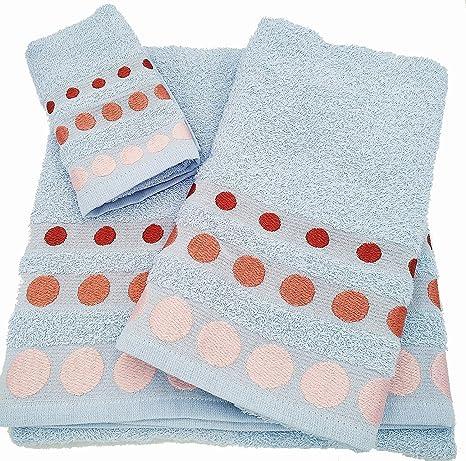 Confort Home M.T (Celeste BOLAS) Juego de toallas de baño 3 piezas (1