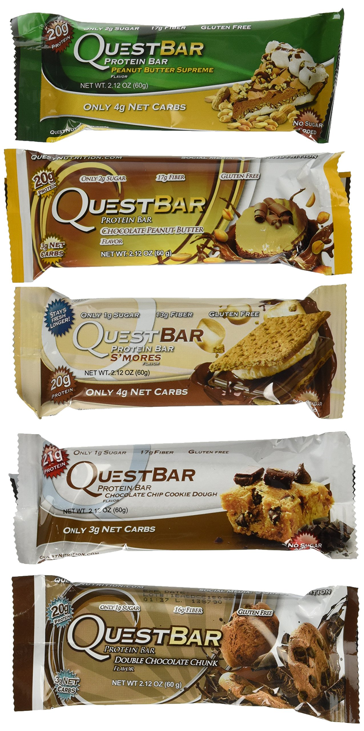 Quest Nutrition- Quest Bar Chocolate and Peanut Butter Lovers Bundle:4 S'Mores,2 Penaut Butter Supreme,2 Chocolate Chip Cookie Dough,2 Chocolate Peanut Butter, 2 Double Chocolate Chunk