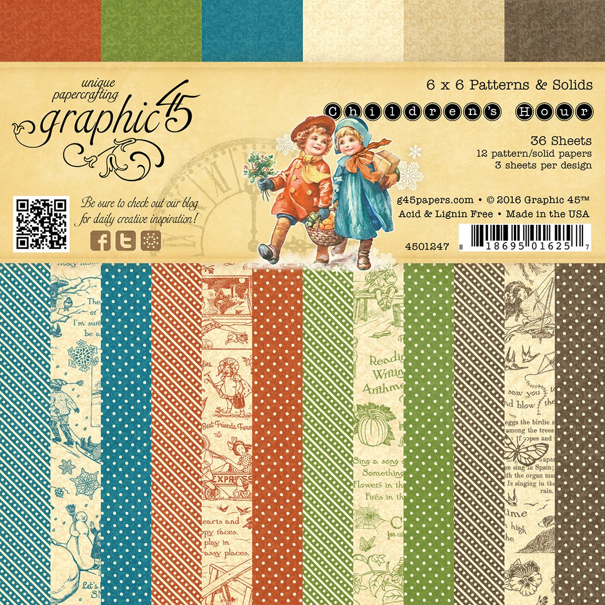 Graphic 45 Children's Hour Patterns & Solids, 6 x 6 6 x 6 4501247
