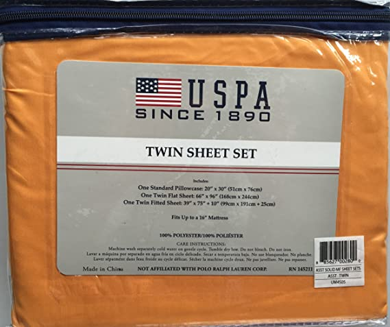 U.S. POLO asociación suave sólido juego de sábanas, 100% poliéster ...