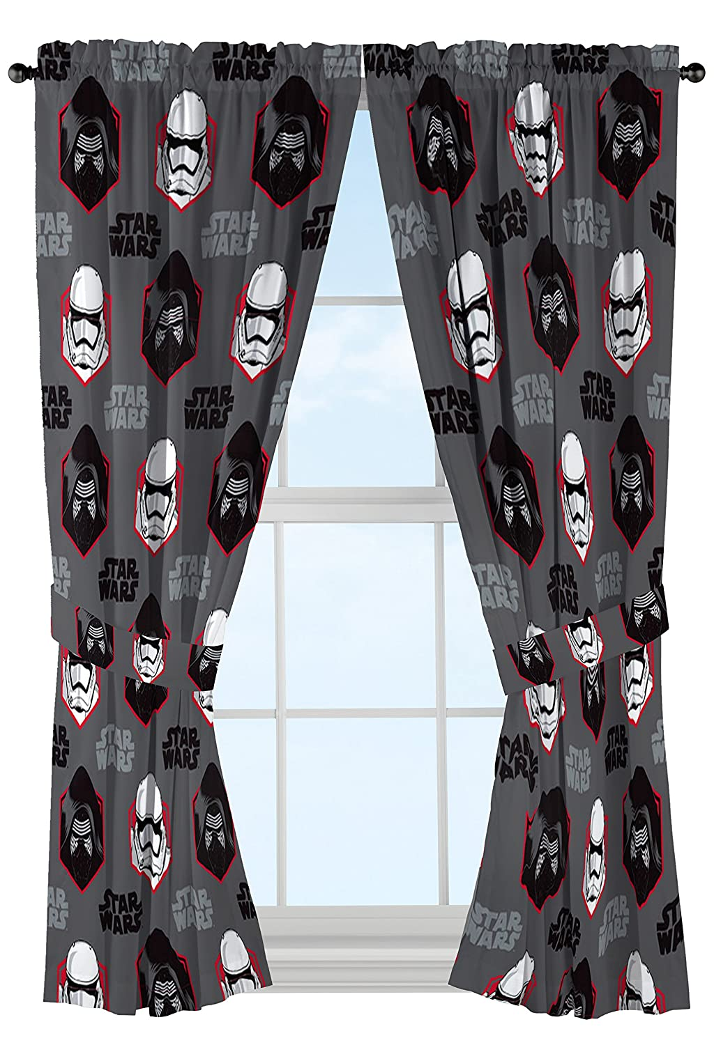 """Star Wars Ep7 Rule Galaxy 63"""" Gray Drapery/Curtain 4pc Set (2 Panels, 2 Tie backs) - Kylo Ren & Stormtrooper - Official Star Wars Product"""