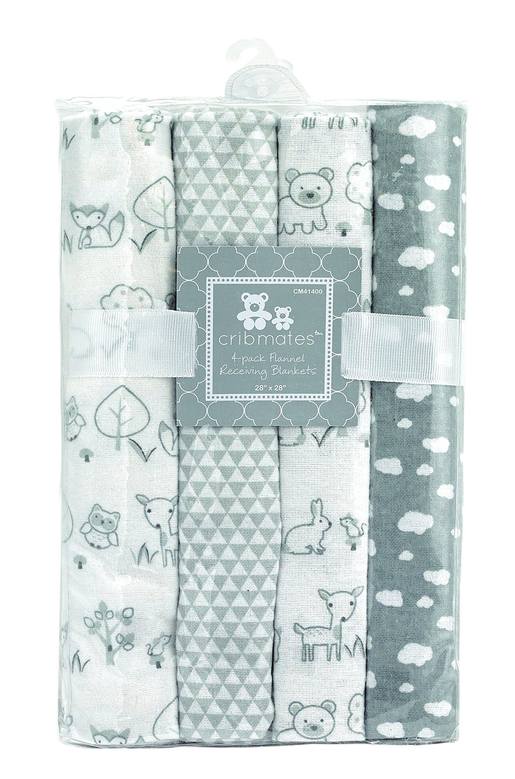 Regent Baby 4 Piece Flannel Receiving Blanket Farm Animals, Grey White