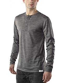 41e5bf89 Woolly Clothing Men's Merino Wool Long Sleeve Henley - Everyday Weight -  Wicking Breathable Anti-