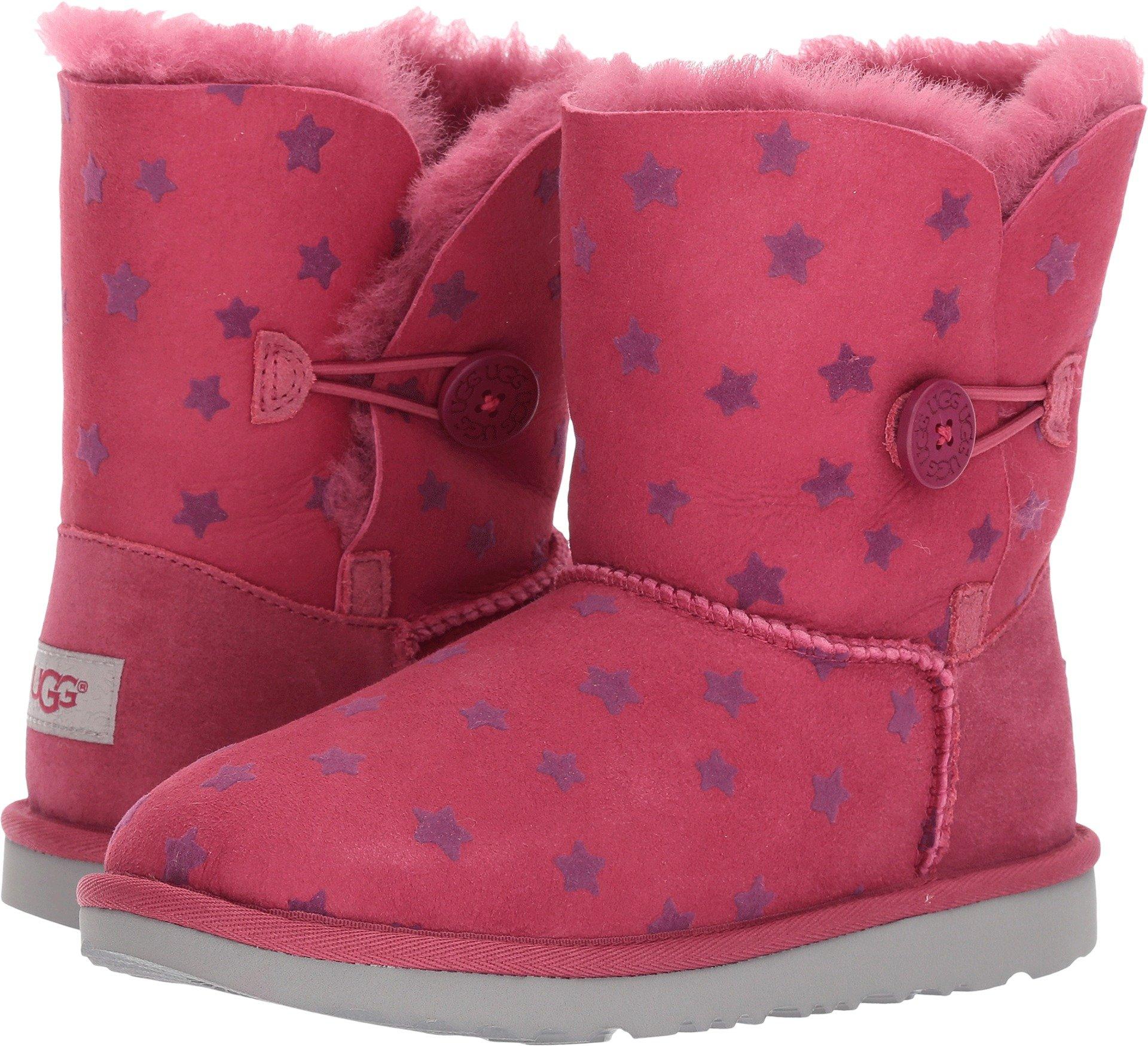 UGG Girls K Bailey Button II Stars Pull-on Boot, Brambleberry, 4 M US Big Kid