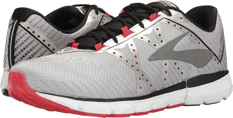 Brooks Neuro 2, Zapatos para Correr para Hombre 8.5 D(M) US Silver/Black/High Risk Red