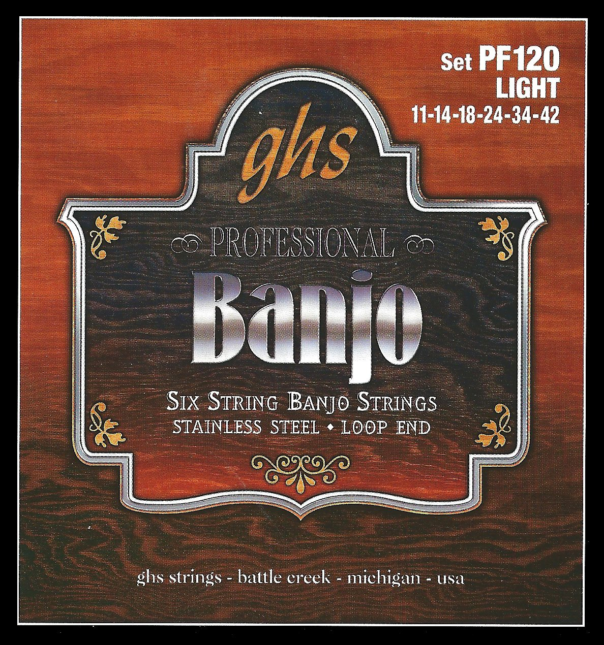 Strings Banjo GHS PF120 Banjo 6-string set. Stainless steel.