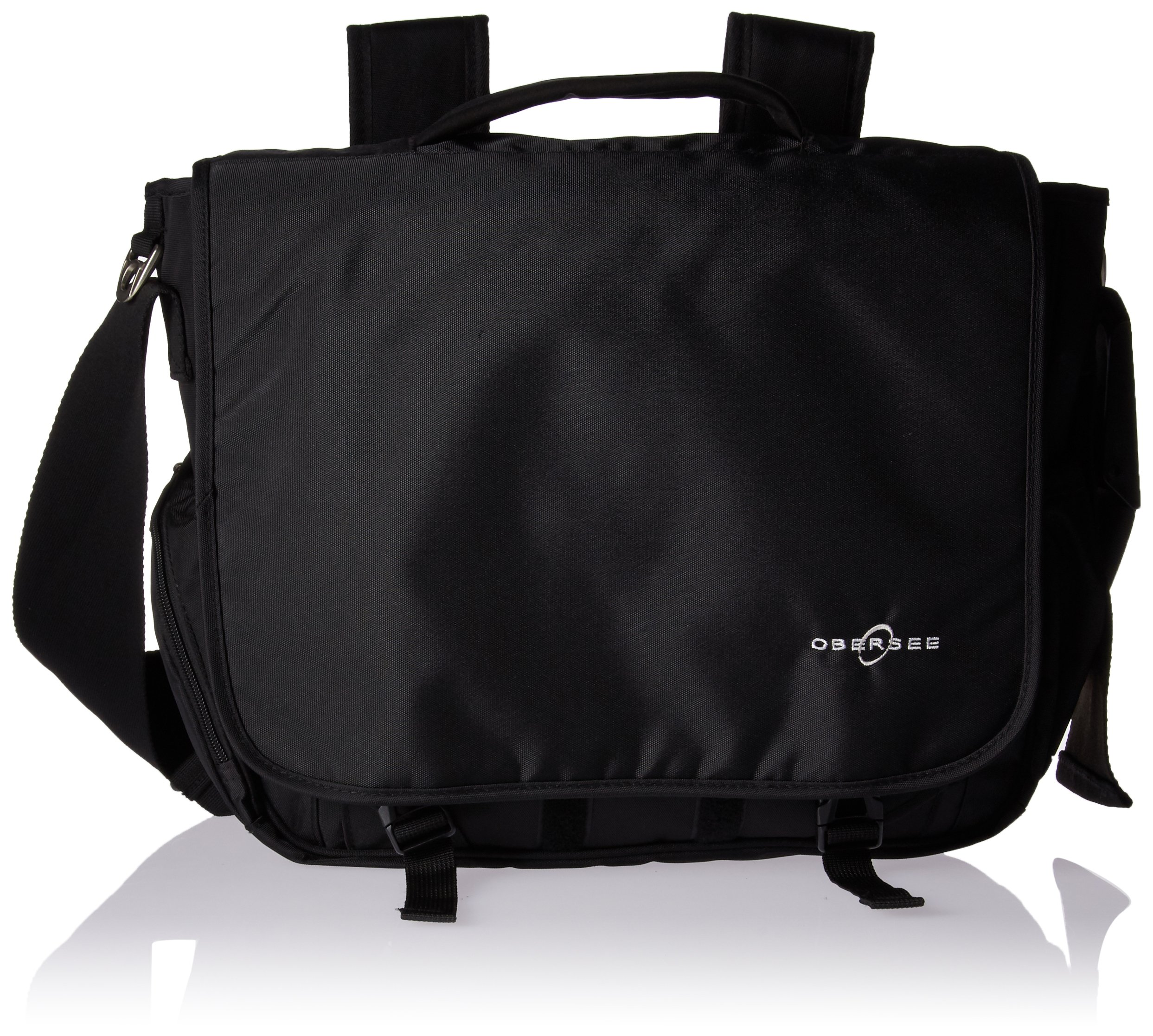 Obersee Madrid Convertible Diaper Backpack Messenger Bag, Black by Obersee
