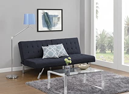 living room futon. DHP Emily Futon Couch Bed  Modern Sofa Design Includes Sturdy Chrome Legs and Rich Linen Amazon com